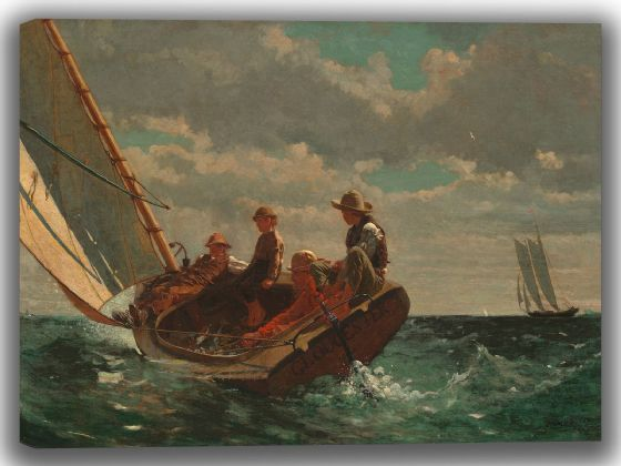Homer, Winslow: Breezing Up. Fine Art Canvas. Sizes: A4/A3/A2/A1 (004100)